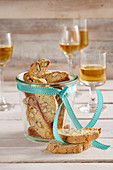 Cantuccini (almond biscuits, Italy) served in a glass with Vin Santo