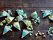 Gezuckertes grünes und blaues Popcorn