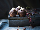 Vegan chocolate cupcakes with a lemon cream filling