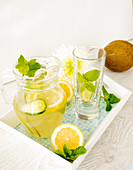 Detox water with lemon, cucumber and mint