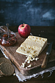 Still life of Wensleydale cheese, apple and chutney
