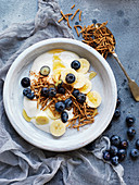 Banana Yoghurt Crunch with Blueberries
