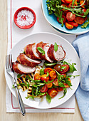 Prosciutto Pork with Haloumi and Tomato Salad