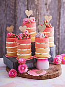 Kleine rosa Ombre Naked Cakes