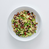 Pearl barley salad with celery and kalamata olives