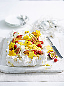 Christmas Tropical Baiser Cake with Tropical Fruit