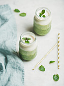 Ombre layered green smoothies with mint