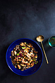 Miso glazed mushrooms with walnuts and black barley