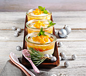 Almond semolina pudding with papaya and apricot compote
