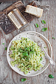 Farfalle pasta with basil pesto