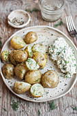 Potatoes with fresh dill served with gzik (cottage cheese with chopped green onion)