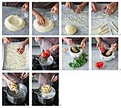 Busiate alla trapanese (Traditionelle sizilianische Nudeln mit Tomaten-Basilikum-Pesto, Italien) zubereiten