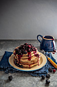 Buttermilk pancakes with blueberry and blackberry sauce