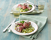 Roast beef rolls with cream cheese, herbs and lemon, and parsley potatoes
