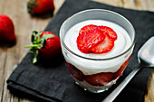 Strawberry yoghurt dessert in a glass