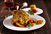 Roasted spring chicken with lemon and polenta fritters