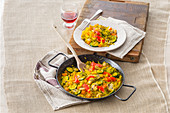 Vegetable paella with pistachios