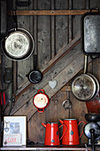 Kitchen utensils in mountain cabin