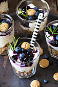 Amarettini trifle with blueberry and rosemary compote