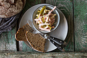 Sausage salad with wholemeal bread