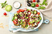 Caprese with grilled aubergine