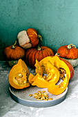 Decorative pumpkins and pumpkins of Hokkaido