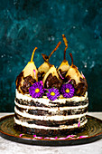 Cake with pears decorated with flowers