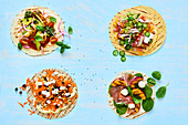 Tortillas with different toppings