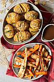 Roasted root vegetables and Hasselback potatoes for Christmas