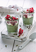 Matcha and redcurrant trifle