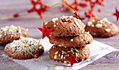 Chocolate biscuits with chopped nuts for Christmas