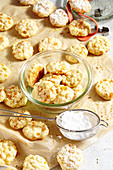 Apricot and almond biscuits on baking paper