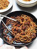 Spaghetti with sausage and porcini mushrooms