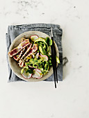 Radish and tuna salad with wasabi dressing