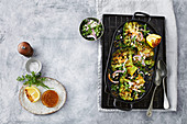 Broccoli steaks with charred lemon dressing