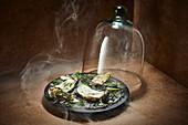 Austern geräuchert unter Cloche aus Glas