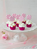 Cupcakes decorated with cloverleaves