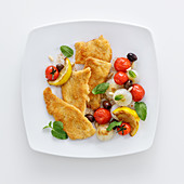 Chicken escalope with sweet-and-sour vegetables