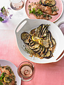Scaloppine in parsley-caper butter with eggplants
