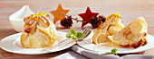 Apples in puff pastry with orange cream and marzipan for Christmas