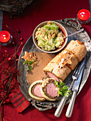 A veal fillet wrapped in brioche with savoy cabbage puree for Christmas