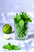 Mint in a crystal glass and lime for cocktails on a gray background