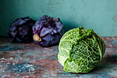 Savoy and purple cabbage