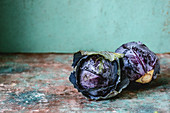 Two heads of purple cabbage