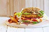 A vegetable burger with walnuts and celery