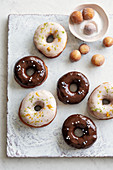 Doughnuts with light and dark glaze