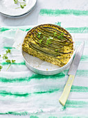 Semolina cake with green beans and saffron