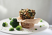 One Brocolli Muffin in Parchment Paper