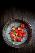 Strawberries in a Metal Bowl