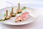 Red mullet with artichokes and pesto